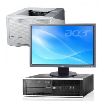 "Pachet HP 6000 Pro DT Core 2 Duo E8400, monitor 19"" widescreen, imprimanta Samsung ML-3710ND"